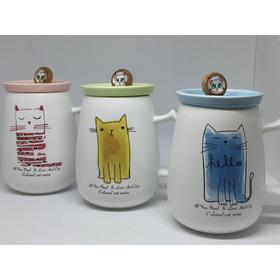Taza De Ceramica En Colores Con Tapa Y Cuchara