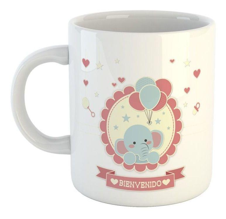 Taza De Ceramica Frase Bienvenido Bebe Love Corazon Elefante