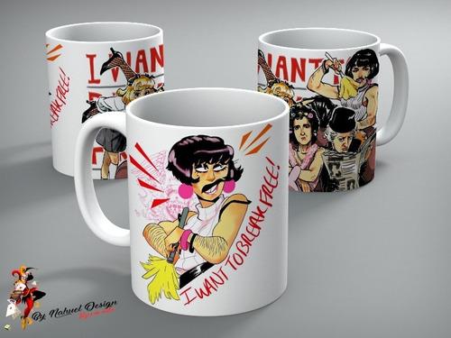 taza de ceramica queen i want to break free art cartoon