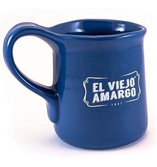 Taza De El Viejo Amargo Con Frase Mañanero Azul