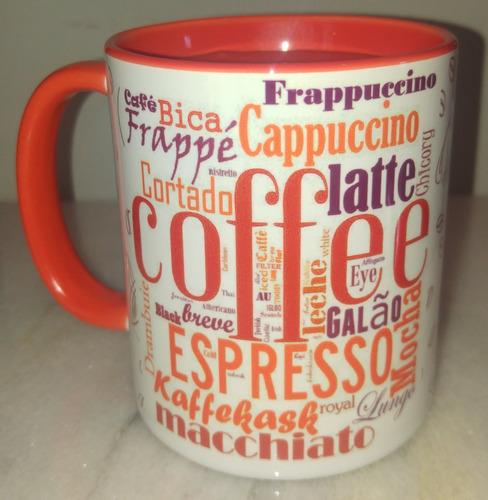 taza desayuno café distintos idiomas interior naranja