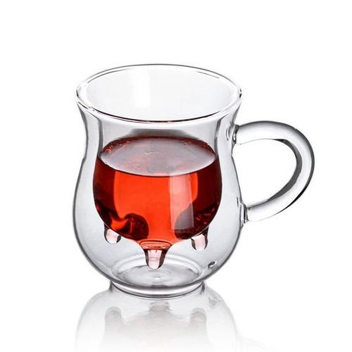 taza doble cristal 250ml ubre vaca café té leche caliente