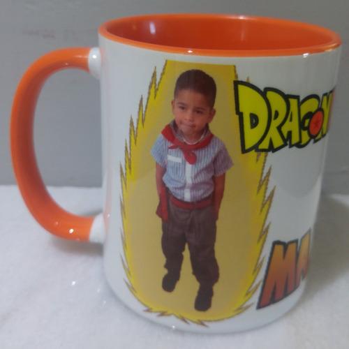 taza dragon ball z naranja goku foto y nombre personalizado