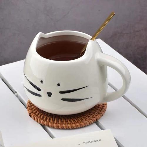 taza gato blanco