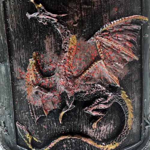 taza gotica medieval con mango de dragon 3d h1322