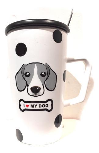 taza i love my dog de ceramica con cuchara