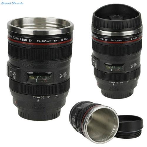 taza lente cámara tipo nikon canon con acero inoxidable
