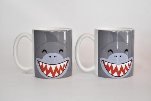taza mug 325 ml tiburon mundo marino promo *2 unidades