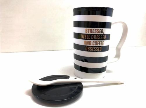 taza mug de café o té grande con cuchara long