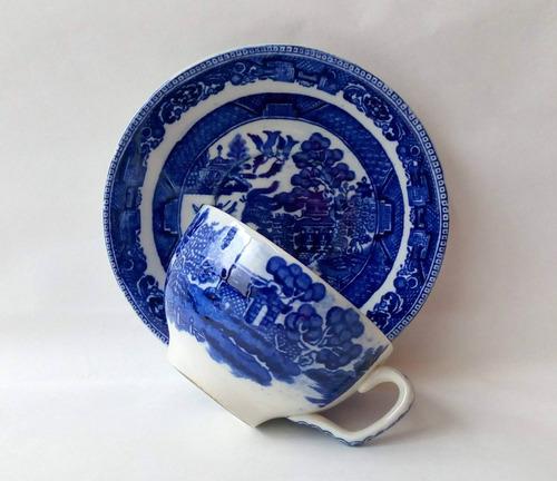 taza para te con plato loza inglesa pattern willow