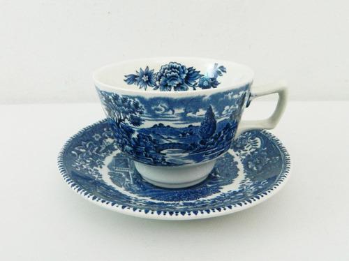 taza para te de loza inglesa avon cottage azul
