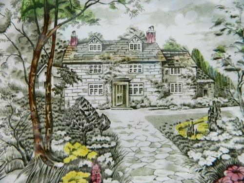taza para té de loza inglesa country cottage