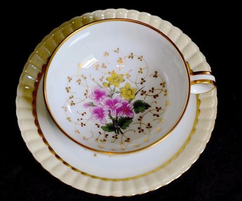 taza para te porcelana b & co limoges bouquet flores oro