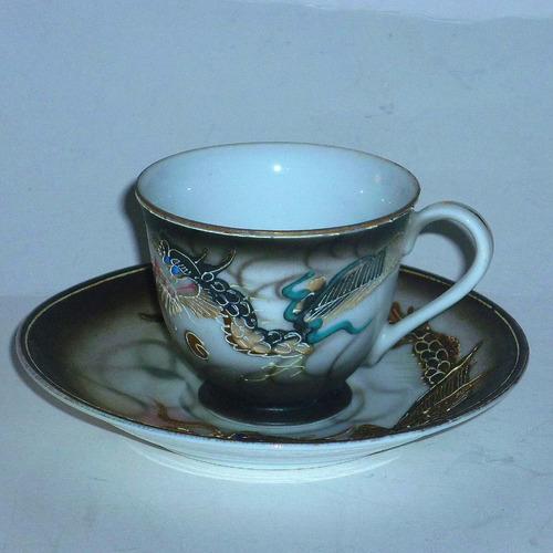 taza porcelana antigua japon traslúcida,3 piezas buen estado