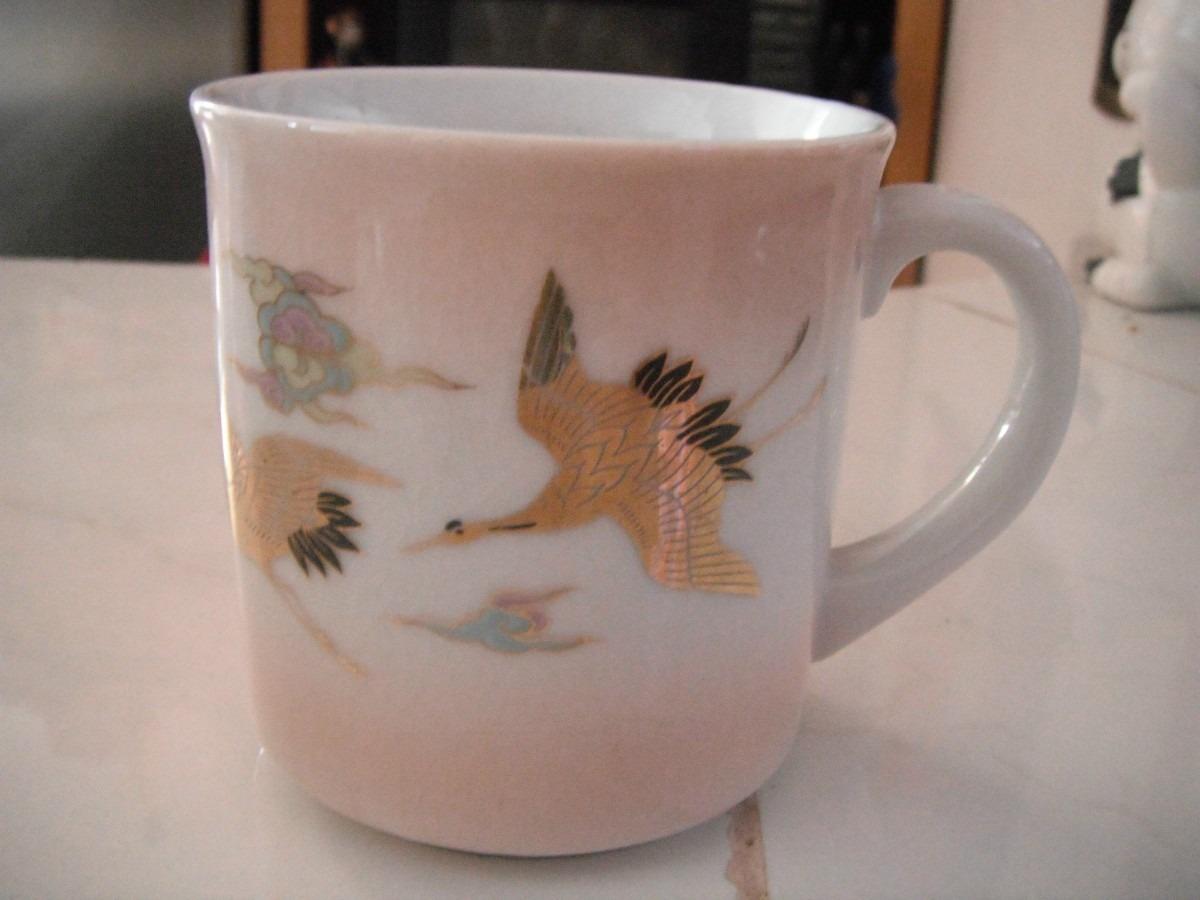 Taza porcelana rosa y grullas doradas japon oriental for Tazas porcelana