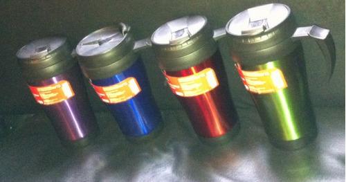 taza termo color acero inoxidable 500ml asa y tapa negra e4f