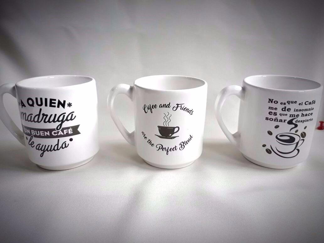 Tazas De Cafe Artesanales Frases Signo Decoracionvidriosweb