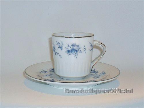 tazas de café c/ plato porcelana tsuji borde plata x unidad