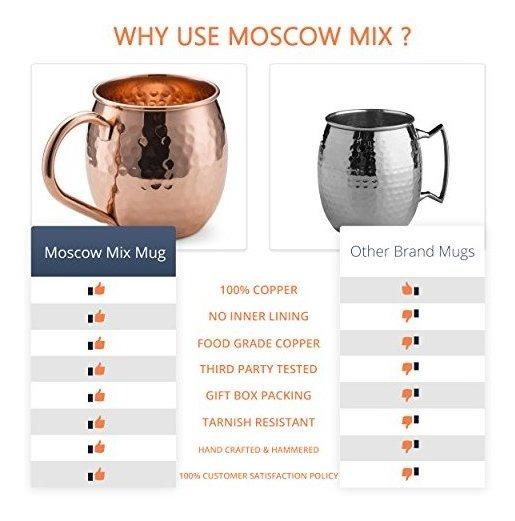 hechas a mano de la m/ás alta calidad y 4 pajitas de cobre Juego de 4 tazas de cobre con 4 pajitas y vaso de chupito seguras para alimentos Moscow Mule de cobre s/ólido caja atractiva