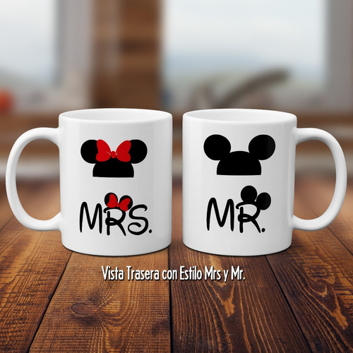 tazas de mickey y minnie mouse parejas con nombres