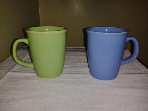 tazas de porcelana verde y azul (2 piezas)