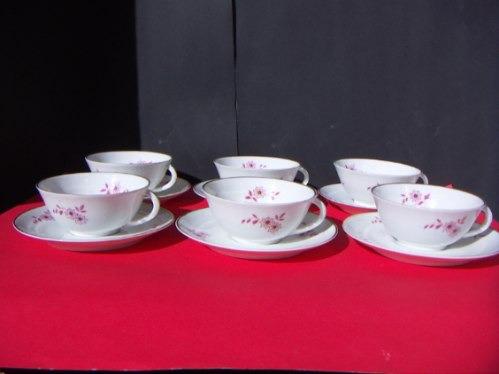 tazas de té limoges (6) porcelana charles ahrenfeldt francé