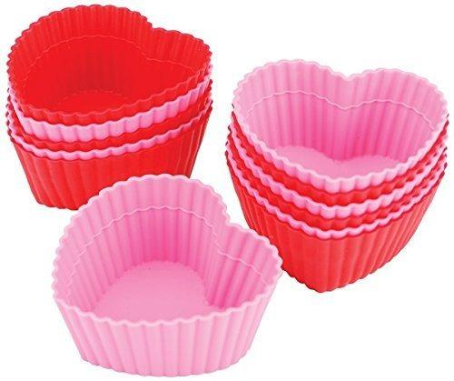 tazas para hornear de silicona wilton heart, 12 unidades