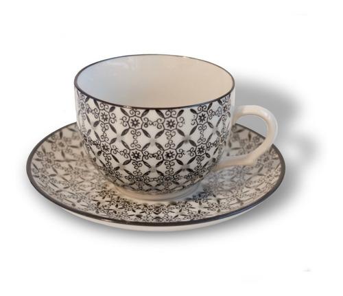 tazas set de cafe con plato porcelana blanco y negro cafe