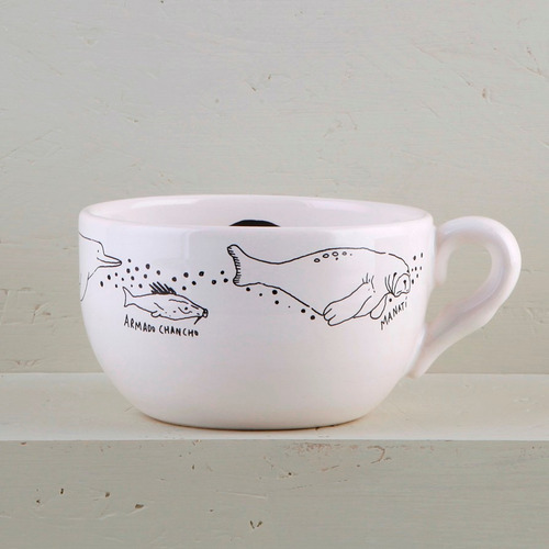 tazas tazones de diseño de cerámica decorados (x2) | vg