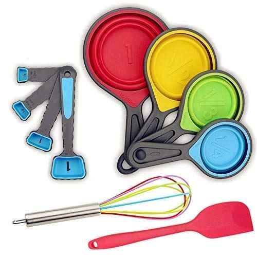 tazas y cucharas de medición set de mesa plegable de medici