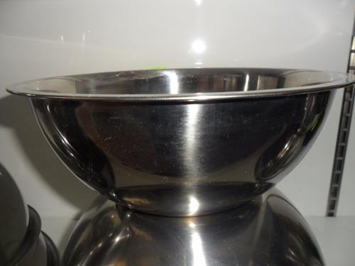tazón, bowl de acero inoxidable redondo  38 cm 6 pzas.