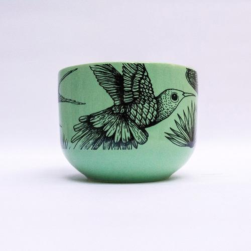 tazón cerámica ilustrada verde pajaros - tienda puro diseño