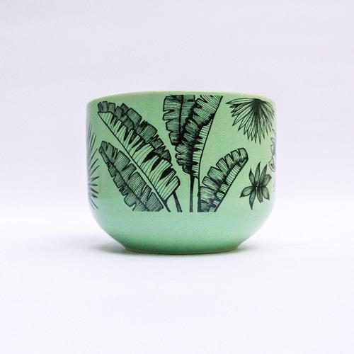 tazón cerámica ilustrada verde plantas - tienda puro diseño