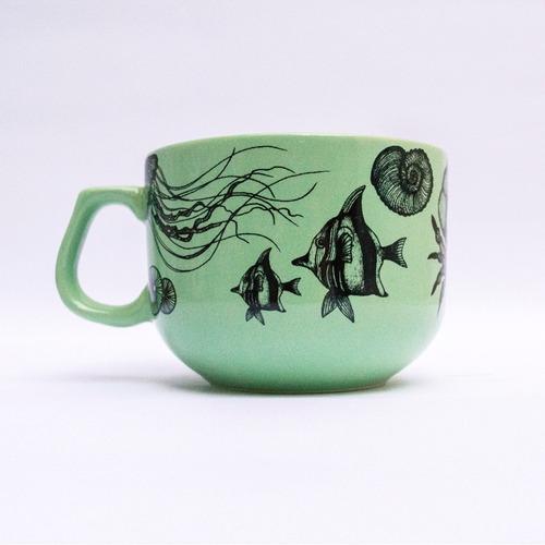 tazón de cerámica ilustrada verde mar - tienda puro diseño