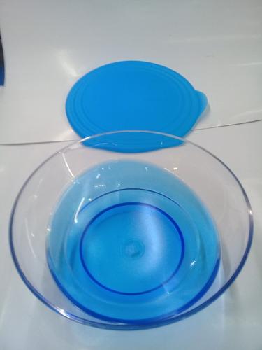 tazón luxury azul con tapa tupperware 1.5 litros