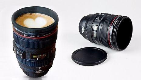 tazon mug tipo lente de camara fotografica