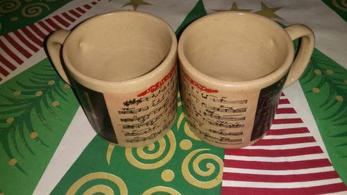 tazon mugs ceramica barro notas musicales taza vintage por 2