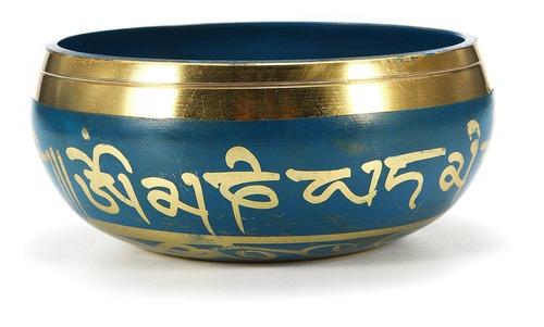 tazón o cuenco tibetano en 7 metales - importado  16 cm azul