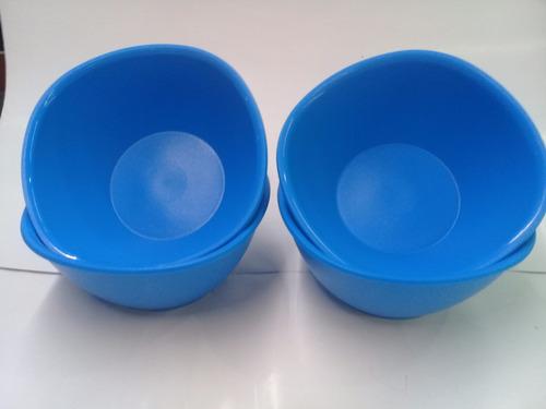 tazones tupperware mexicana set de 4 pz azul y rojo