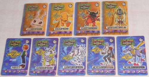 tazos lig mon digimon 2001 lote com 27 mini cards elma chips