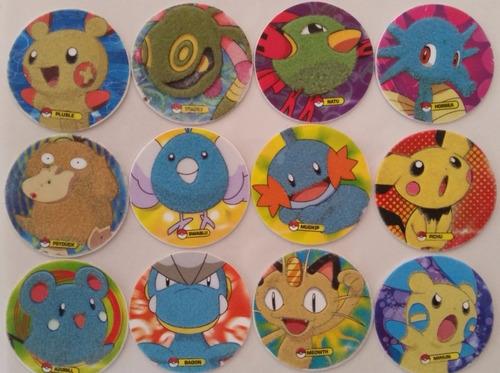 tazos pokémon 4 metalicos y peluche coleccionables