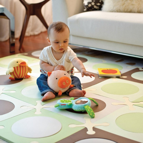 tb skip hop playspot floor mat, green/brown