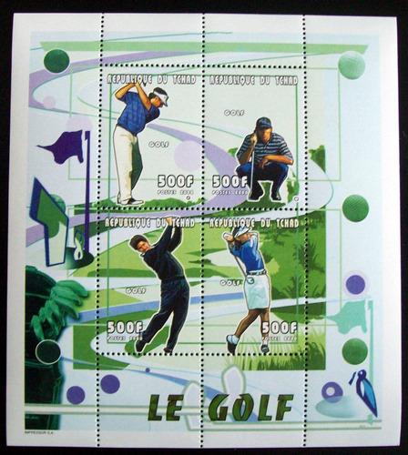 tchad, deportes golf, bloque sc. 813 mint l5593