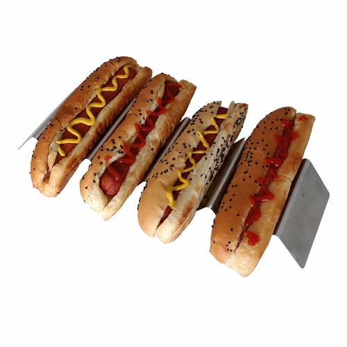 tchs-45 plato taquero inox 4 o 5 porta tacos hotdogs canape