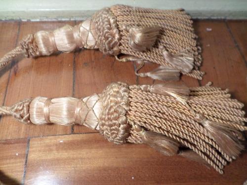 tck par de borlas p/ cordão de cortina antiga anos 50 lindo