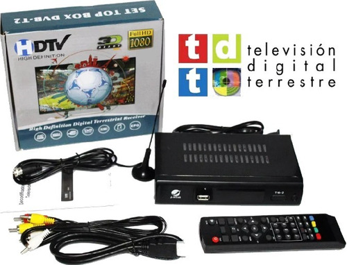 tdt full hd decodificador + antena + cable hdmi + rca