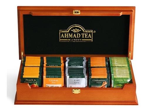 té ahmad caja de madera presentador de té/ con 100 bolsitas