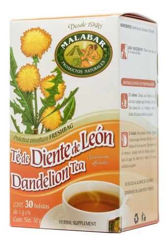 té diente de leon (30 bolsitas) malabar