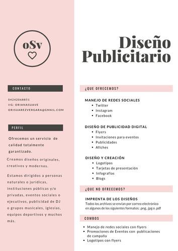 te diseñamos flyers, logos, servicios de community manager..