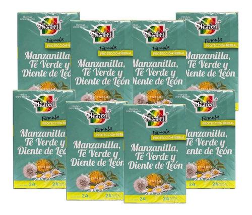 té manzanilla, té verde y diente de leon 8 cajas therbal